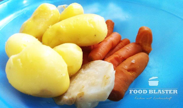 Gekochte Kartoffeln, Karotten und Sellerie