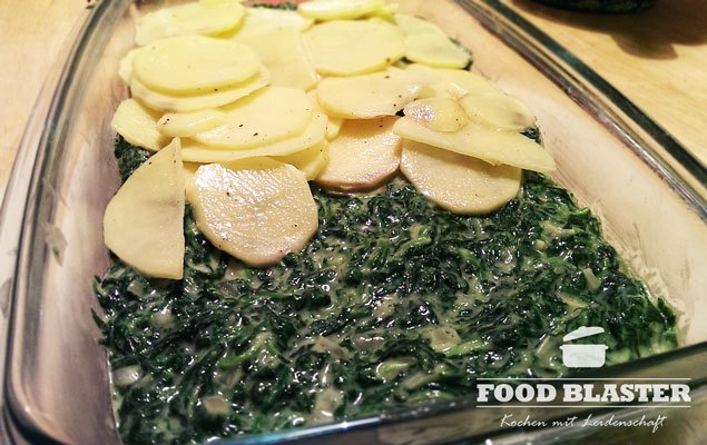 Spinat und Kartoffeln in Backform