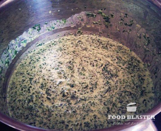 Frischkäse mit Spinat