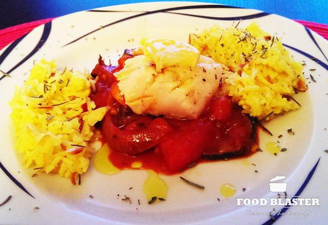Kabeljau mit Rotweingemüse und Mandeln