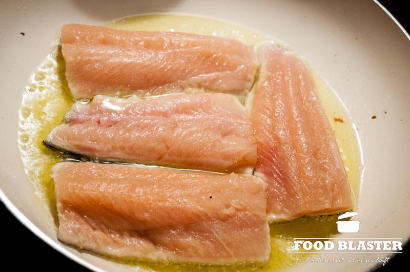 Fisch auf der Haut braten
