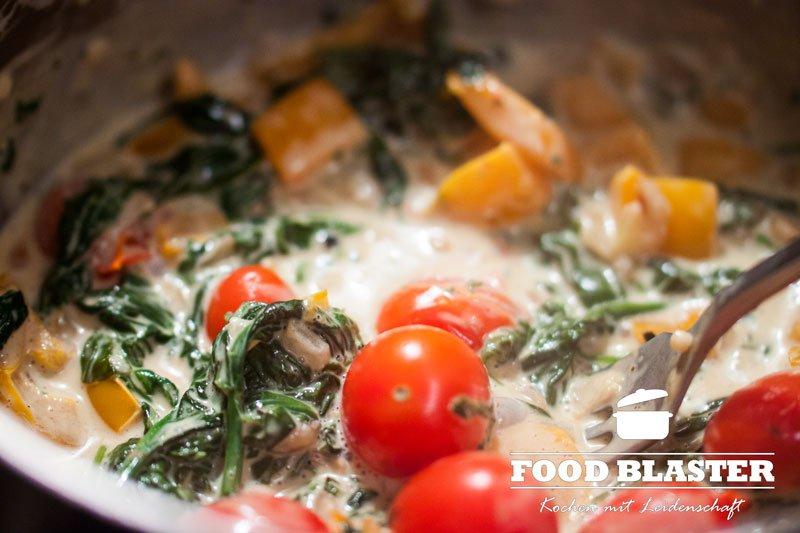 Spinat und Tomaten